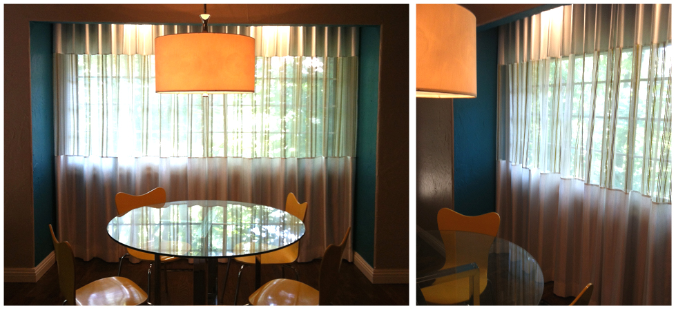 teal breakfast nook with custom sheer & satin Ripplefold drapery, canary yellow chairs and modern drum pendant chandelier