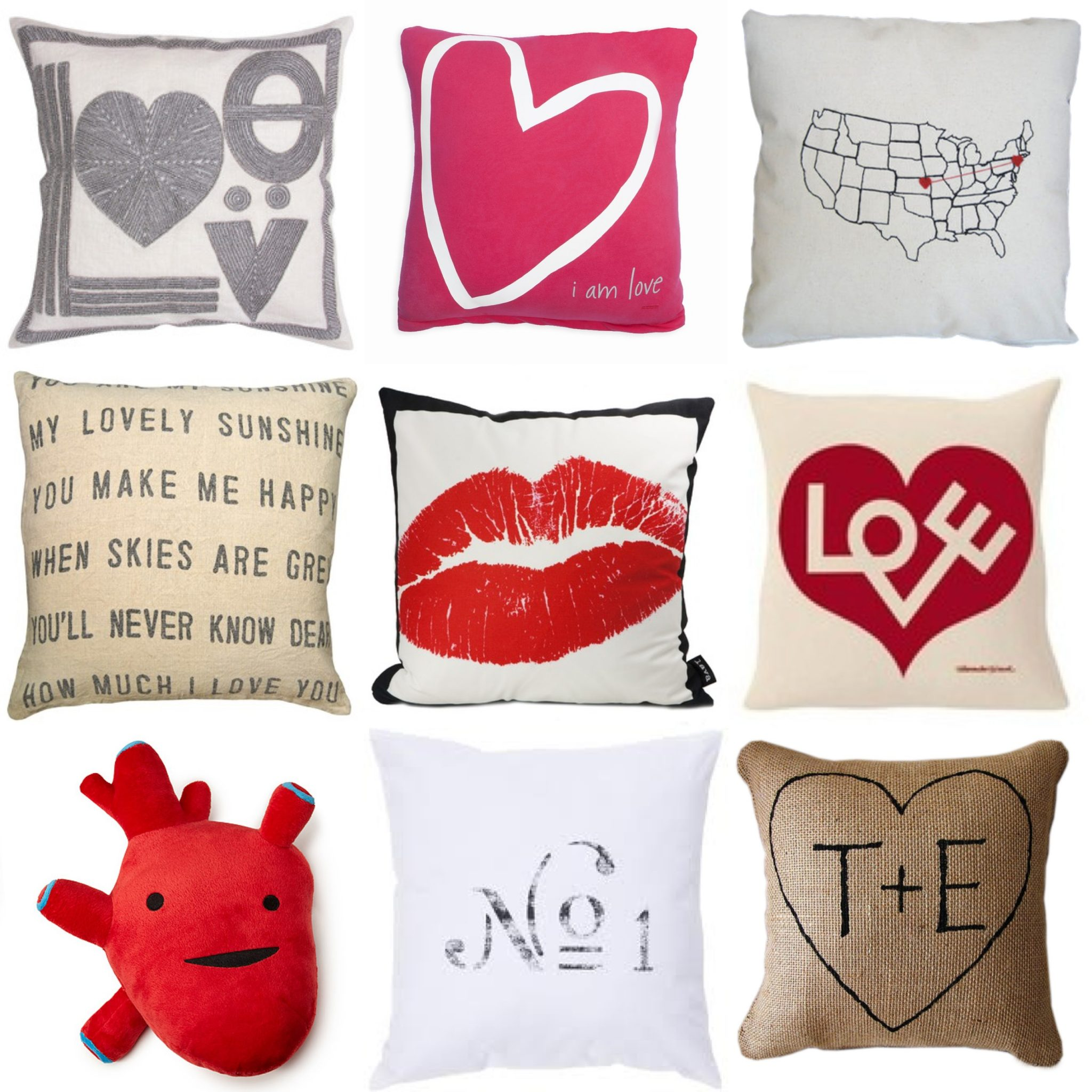 tossing love around with valentines day themed pillows