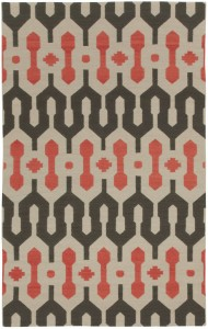 Capel rug in brown and orange graphic middle eastern print