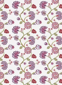 Fabricut Kanapaha Berry floral fabric in fuschia lilac and fresh green Spring colors