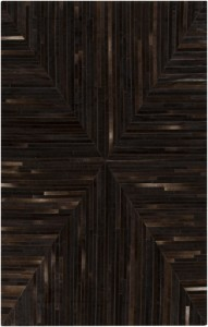 Surya Appalacian leather strip mitered flat rug