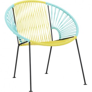 CB2 bright outdoor lounge chair uses Spring colors