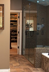 Zero-entry shower by Gina McMurtrey Interiors