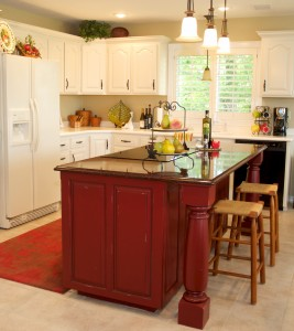 Red Distressed Kitchen Island with Quartz Countertops by Gina ...