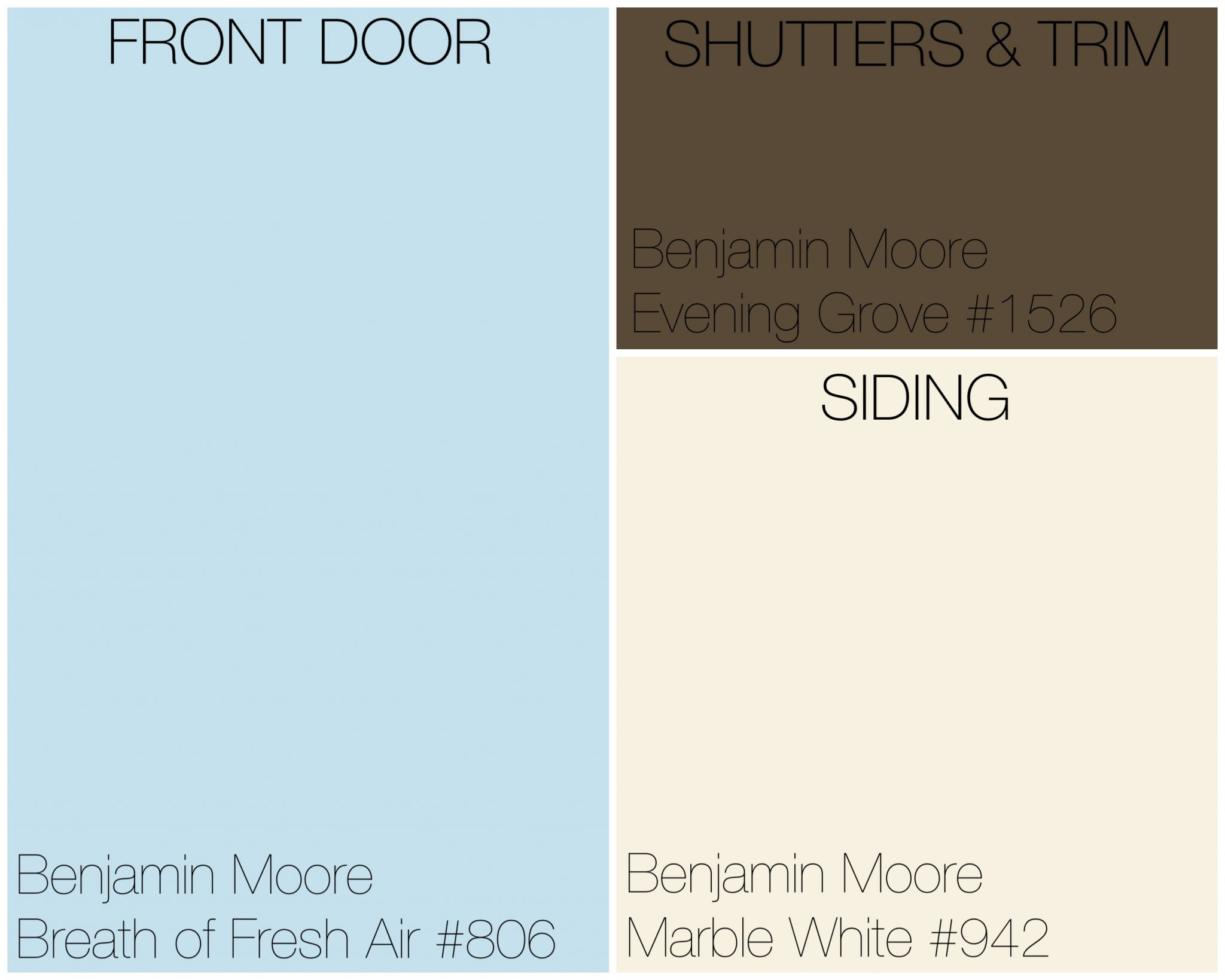 """Exterior Palette using Benjamin-Moore's Color-Of-The-Year """"Breath of Fresh Air"""""""