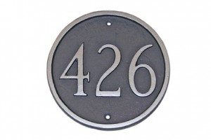 Round, Contemporary Address Plaque in Silver Metal Finish