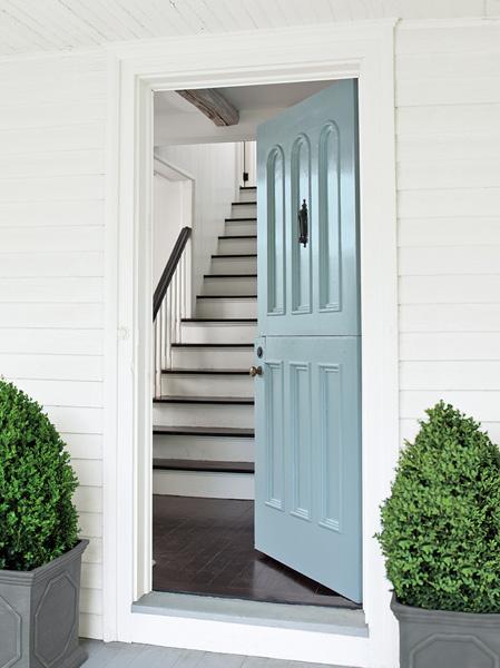 """Front Door using Benjamin-Moore's """"Breath of Fresh Air"""" #806"""