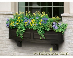 A vinyl painted window box adds character without much maintenance.