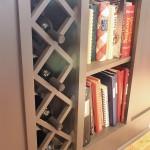 wine rack and cookbook storage