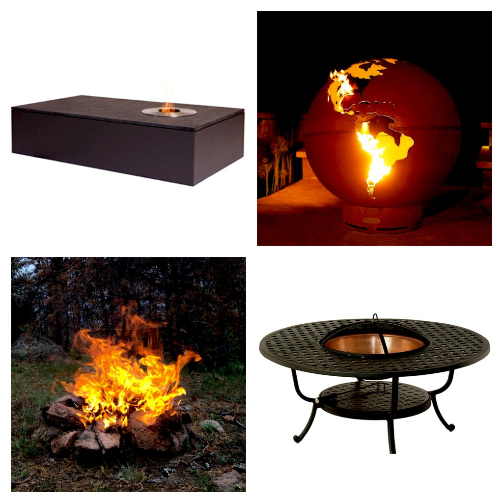 """Clockwise from top left: Harbour Bluestone Outdoor Fire Table, Fire Pit Art """"3rd Rock"""" Fire Globe, Hanamint Newport Round Fire Pit, Good 'Ol Fashioned Campfire"""