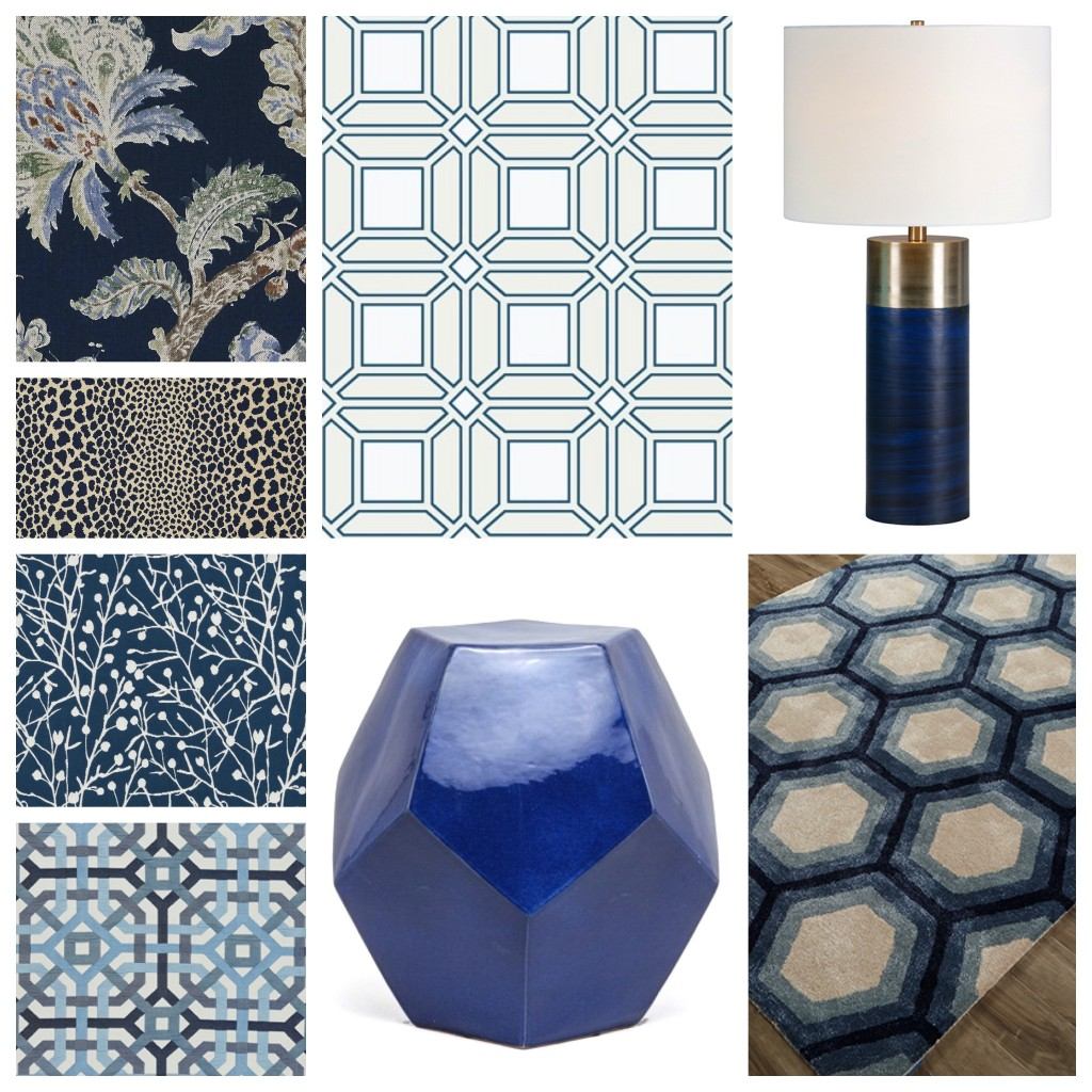 New releases in fabric, wallcoverings, rugs, accessories and lighting are loving the blues!