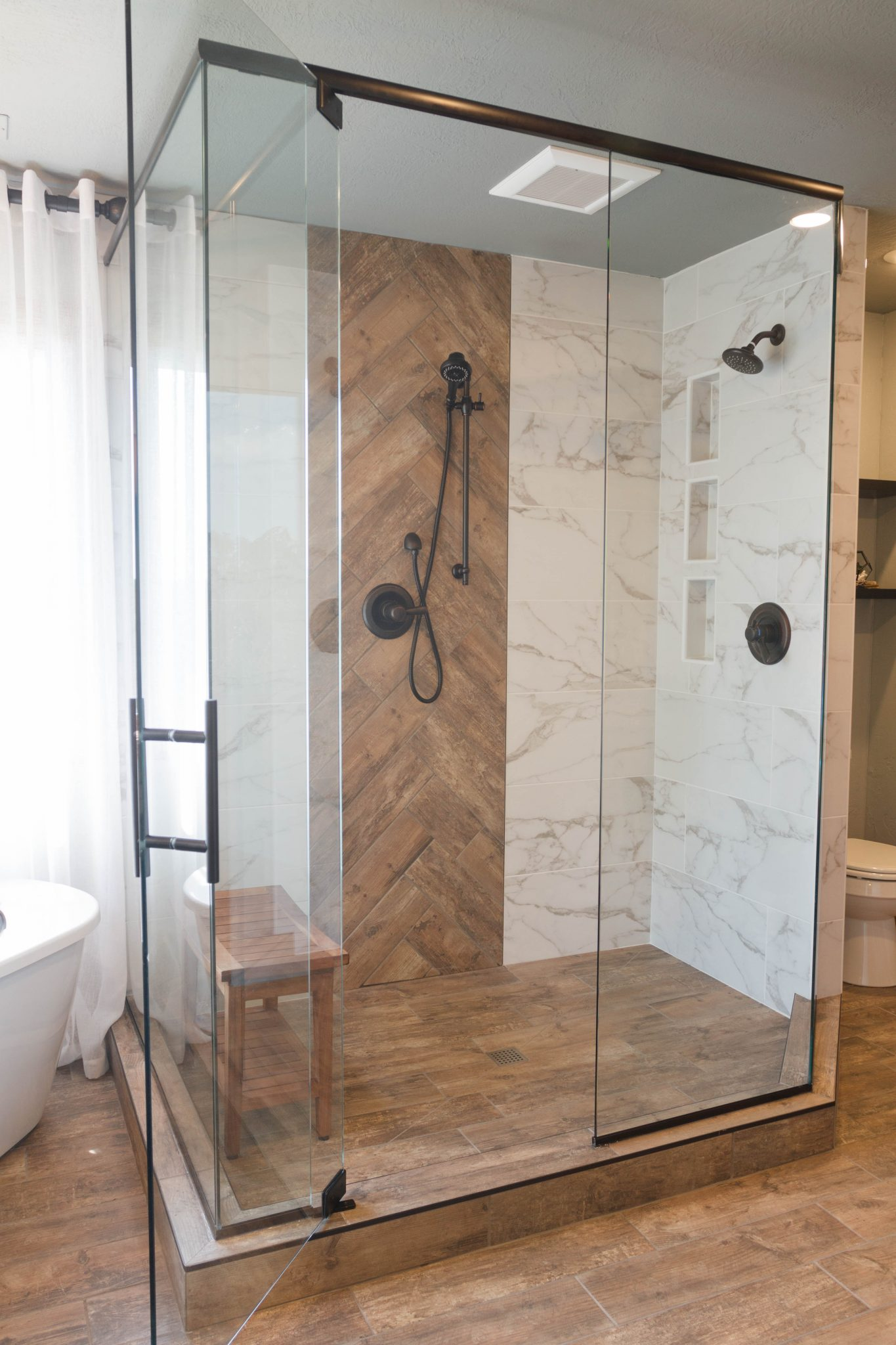 Modern Rustic Spa Master Bathroom Gina Mcmurtrey Interiors Llc